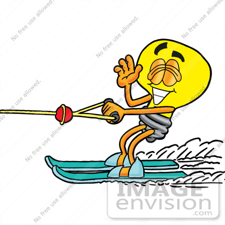 #24408 Clip Art Graphic of a Yellow Electric Lightbulb Cartoon Character Waving While Water Skiing by toons4biz
