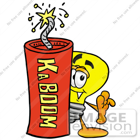 #24409 Clip Art Graphic of a Yellow Electric Lightbulb Cartoon Character Standing With a Lit Stick of Dynamite by toons4biz