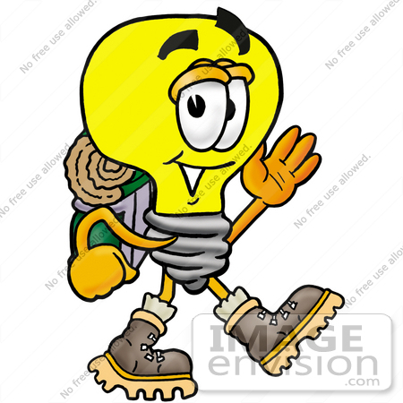 #24411 Clip Art Graphic of a Yellow Electric Lightbulb Cartoon Character Hiking and Carrying a Backpack by toons4biz