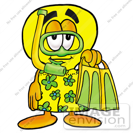 #24412 Clip Art Graphic of a Yellow Electric Lightbulb Cartoon Character in Green and Yellow Snorkel Gear by toons4biz