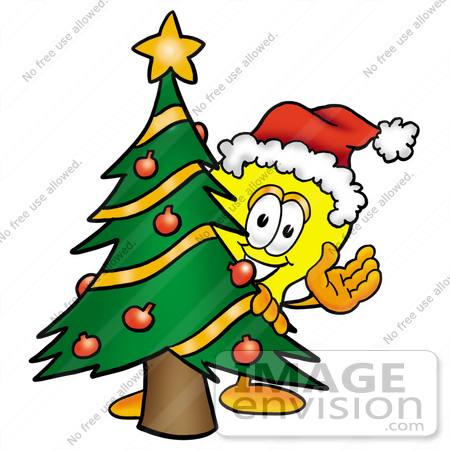 #24414 Clip Art Graphic of a Yellow Electric Lightbulb Cartoon Character Waving and Standing by a Decorated Christmas Tree by toons4biz