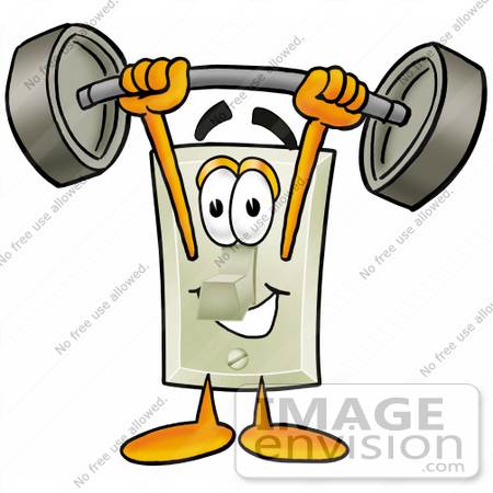 #24431 Clip Art Graphic of a White Electrical Light Switch Cartoon Character Holding a Heavy Barbell Above His Head by toons4biz