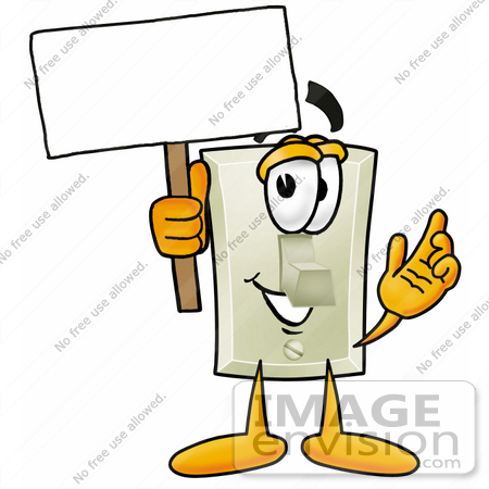 #24437 Clip Art Graphic of a White Electrical Light Switch Cartoon Character Holding a Blank Sign by toons4biz