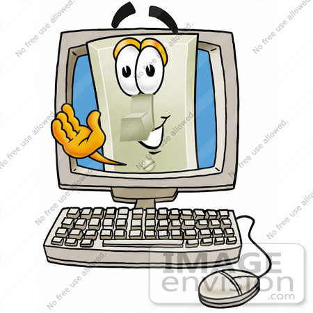 #24444 Clip Art Graphic of a White Electrical Light Switch Cartoon Character Waving From Inside a Computer Screen by toons4biz