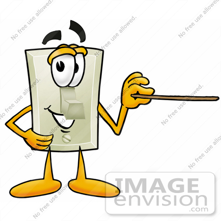 Clip art graphic of a white electrical light switch cartoon 24449 clip art graphic of a white electrical light switch cartoon character holding a pointer sciox Gallery