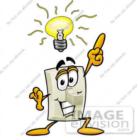 #24455 Clip Art Graphic of a White Electrical Light Switch Cartoon Character With a Bright Idea by toons4biz