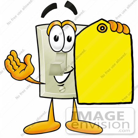 Clip art graphic of a white electrical light switch cartoon 24460 clip art graphic of a white electrical light switch cartoon character holding a yellow sciox Gallery