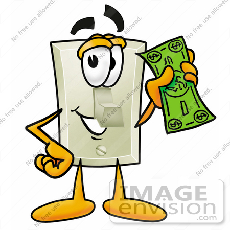 #24461 Clip Art Graphic of a White Electrical Light Switch Cartoon Character Holding a Dollar Bill by toons4biz