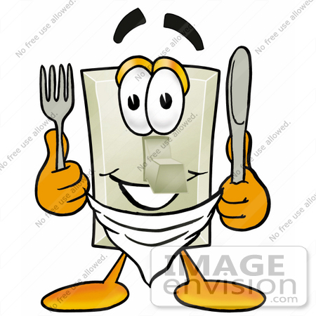 #24475 Clip Art Graphic of a White Electrical Light Switch Cartoon Character Holding a Knife and Fork by toons4biz