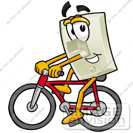 #24484 Clip Art Graphic of a White Electrical Light Switch Cartoon Character Riding a Bicycle by toons4biz