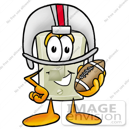 #24487 Clip Art Graphic of a White Electrical Light Switch Cartoon Character in a Helmet, Holding a Football by toons4biz