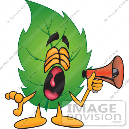 #24514 Clip Art Graphic of a Green Tree Leaf Cartoon Character Screaming Into a Megaphone by toons4biz