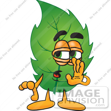 #24517 Clip Art Graphic of a Green Tree Leaf Cartoon Character Whispering and Gossiping by toons4biz