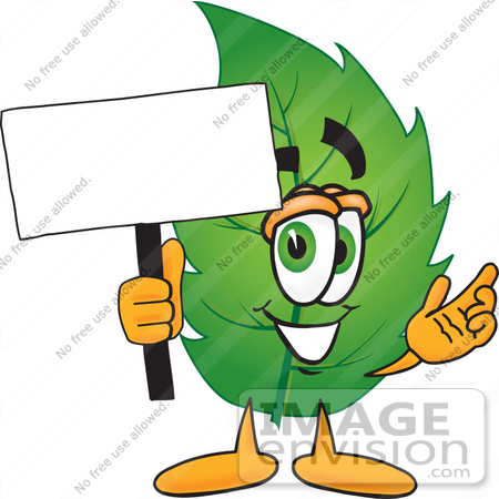 #24528 Clip Art Graphic of a Green Tree Leaf Cartoon Character Holding a Blank Sign by toons4biz