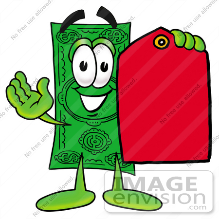 #24549 Clip Art Graphic of a Flat Green Dollar Bill Cartoon Character Holding a Red Sales Price Tag by toons4biz