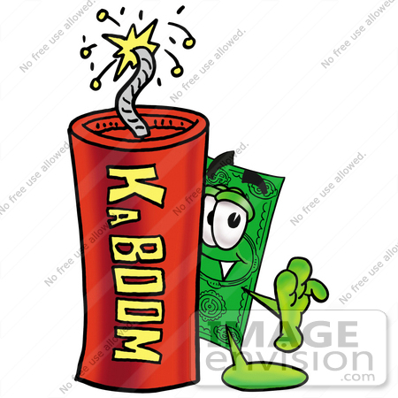 #24552 Clip Art Graphic of a Flat Green Dollar Bill Cartoon Character Standing With a Lit Stick of Dynamite by toons4biz