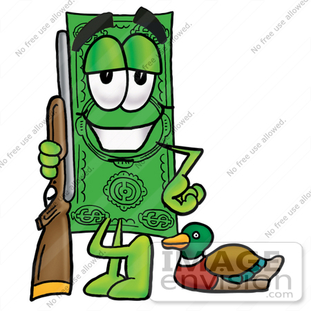 #24590 Clip Art Graphic of a Flat Green Dollar Bill Cartoon Character Duck Hunting, Standing With a Rifle and Duck by toons4biz