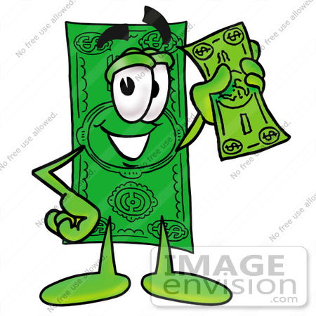 clip art graphic of a flat green dollar bill cartoon