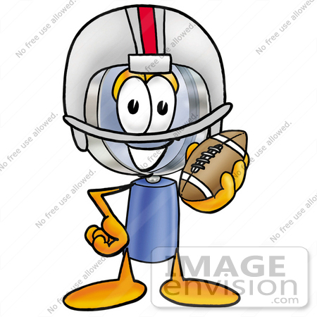 #24628 Clip Art Graphic of a Blue Handled Magnifying Glass Cartoon Character in a Helmet, Holding a Football by toons4biz