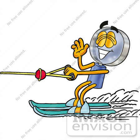 #24649 Clip Art Graphic of a Blue Handled Magnifying Glass Cartoon Character Waving While Water Skiing by toons4biz