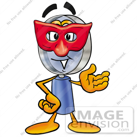 #24654 Clip Art Graphic of a Blue Handled Magnifying Glass Cartoon Character Wearing a Red Mask Over His Face by toons4biz