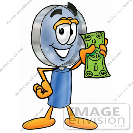 #24658 Clip Art Graphic of a Blue Handled Magnifying Glass Cartoon Character Holding a Dollar Bill by toons4biz