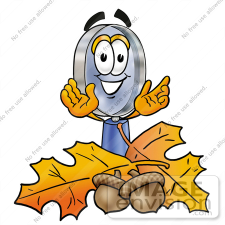 #24672 Clip Art Graphic of a Blue Handled Magnifying Glass Cartoon Character With Autumn Leaves and Acorns in the Fall by toons4biz