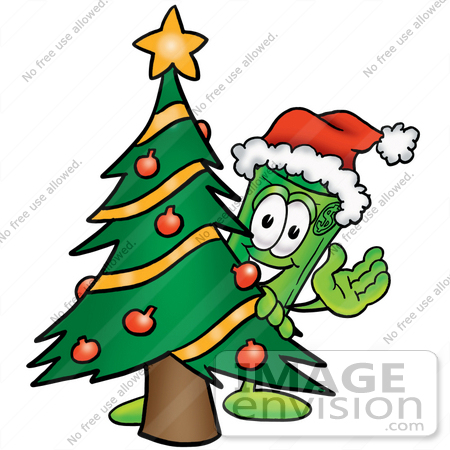 #24688 Clip Art Graphic of a Rolled Greenback Dollar Bill Banknote Cartoon Character Waving and Standing by a Decorated Christmas Tree by toons4biz