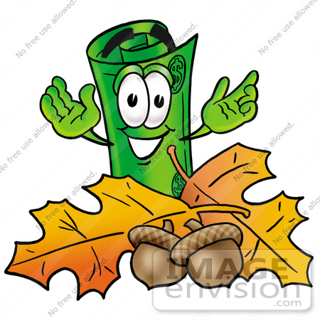 #24690 Clip Art Graphic of a Rolled Greenback Dollar Bill Banknote Cartoon Character With Autumn Leaves and Acorns in the Fall by toons4biz