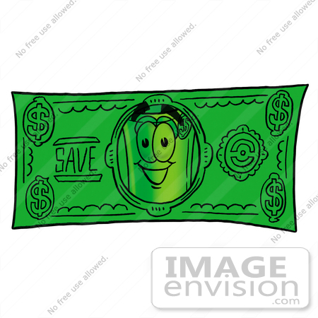 #24693 Clip Art Graphic of a Rolled Greenback Dollar Bill Banknote Cartoon Character on a Dollar Bill by toons4biz