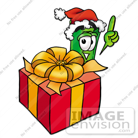 #24695 Clip Art Graphic of a Rolled Greenback Dollar Bill Banknote Cartoon Character Standing by a Christmas Present by toons4biz