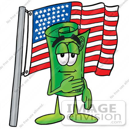 #24696 Clip Art Graphic of a Rolled Greenback Dollar Bill Banknote Cartoon Character Pledging Allegiance to an American Flag by toons4biz