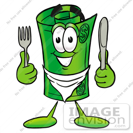 #24714 Clip Art Graphic of a Rolled Greenback Dollar Bill Banknote Cartoon Character Holding a Knife and Fork by toons4biz