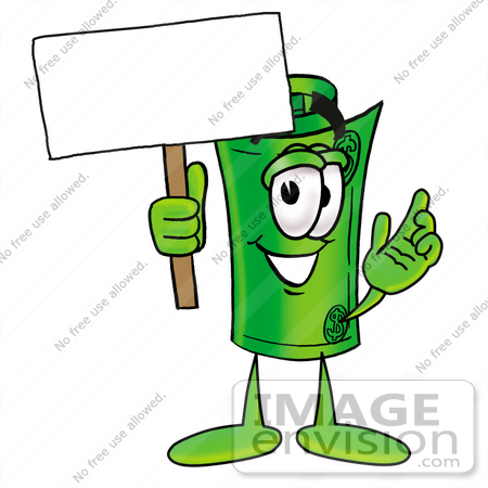 #24729 Clip Art Graphic of a Rolled Greenback Dollar Bill Banknote Cartoon Character Holding a Blank Sign by toons4biz