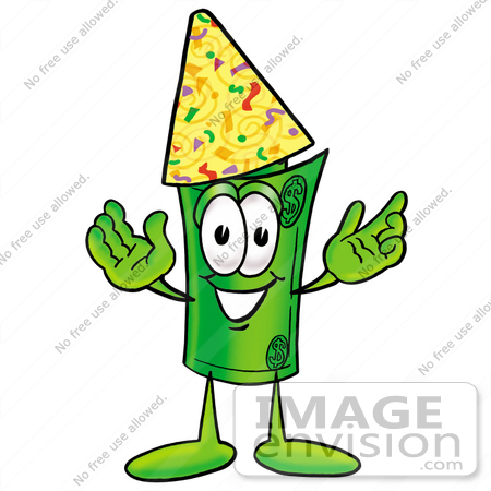 #24731 Clip Art Graphic of a Rolled Greenback Dollar Bill Banknote Cartoon Character Wearing a Birthday Party Hat by toons4biz