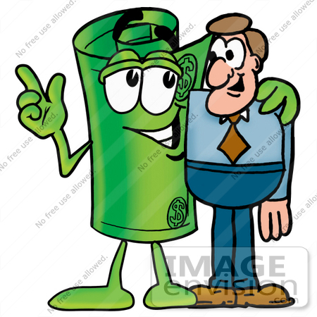 #24735 Clip Art Graphic of a Rolled Greenback Dollar Bill Banknote Cartoon Character Talking to a Business Man by toons4biz