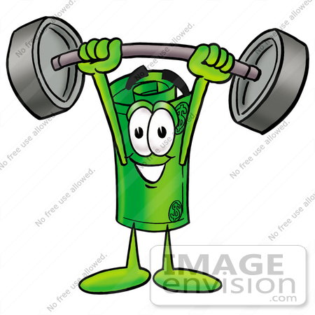 #24736 Clip Art Graphic of a Rolled Greenback Dollar Bill Banknote Cartoon Character Holding a Heavy Barbell Above His Head by toons4biz
