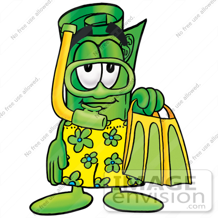 #24737 Clip Art Graphic of a Rolled Greenback Dollar Bill Banknote Cartoon Character in Green and Yellow Snorkel Gear by toons4biz