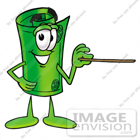 #24738 Clip Art Graphic of a Rolled Greenback Dollar Bill Banknote Cartoon Character Holding a Pointer Stick by toons4biz