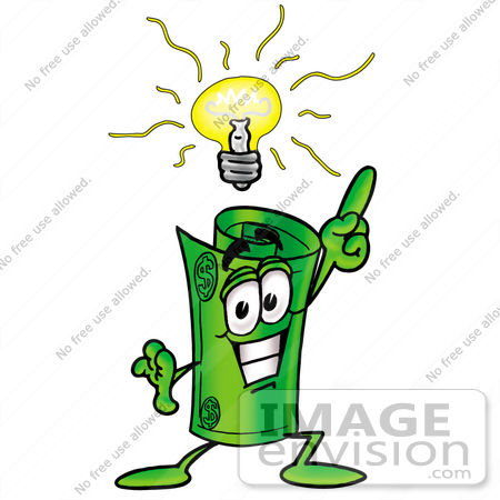 #24742 Clip Art Graphic of a Rolled Greenback Dollar Bill Banknote Cartoon Character With a Bright Idea by toons4biz