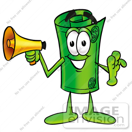 #24744 Clip Art Graphic of a Rolled Greenback Dollar Bill Banknote Cartoon Character Holding a Megaphone by toons4biz