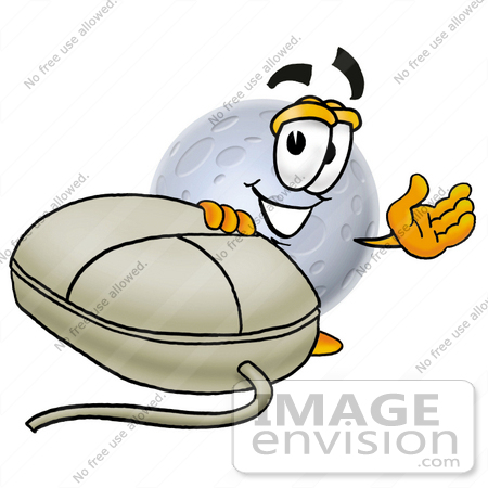 #24758 Clip Art Graphic of a Full Moon Cartoon Character With a Computer Mouse by toons4biz