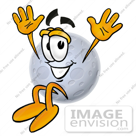 #24760 Clip Art Graphic of a Full Moon Cartoon Character Jumping by toons4biz