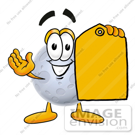 #24767 Clip Art Graphic of a Full Moon Cartoon Character Holding a Yellow Sales Price Tag by toons4biz