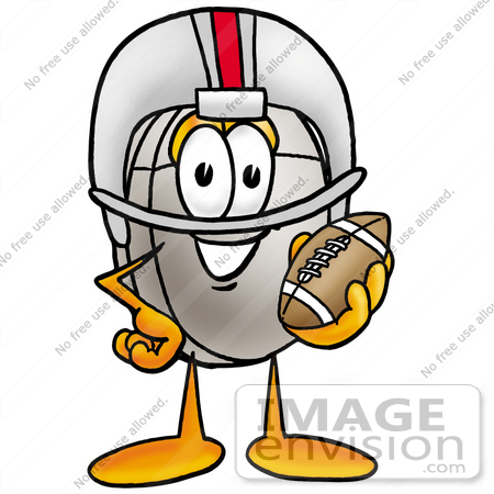 #24778 Clip Art Graphic of a Wired Computer Mouse Cartoon Character in a Helmet, Holding a Football by toons4biz