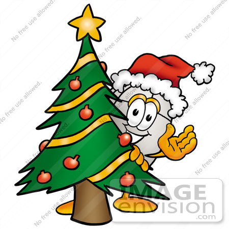 #24781 Clip Art Graphic of a Wired Computer Mouse Cartoon Character Waving and Standing by a Decorated Christmas Tree by toons4biz