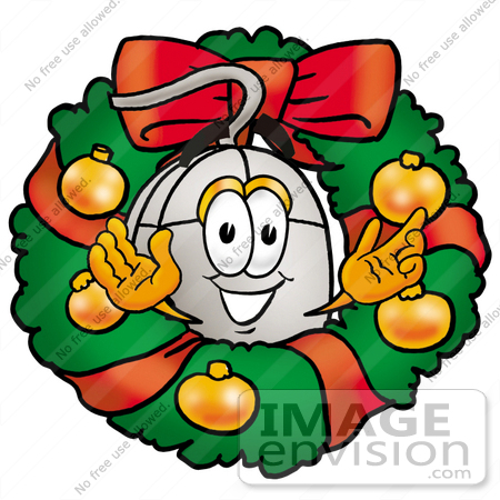 #24785 Clip Art Graphic of a Wired Computer Mouse Cartoon Character in the Center of a Christmas Wreath by toons4biz