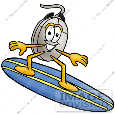 #24790 Clip Art Graphic of a Wired Computer Mouse Cartoon Character Surfing on a Blue and Yellow Surfboard by toons4biz