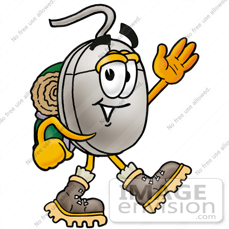 #24791 Clip Art Graphic of a Wired Computer Mouse Cartoon Character Hiking and Carrying a Backpack by toons4biz