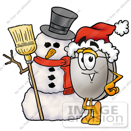#24811 Clip Art Graphic of a Wired Computer Mouse Cartoon Character With a Snowman on Christmas by toons4biz